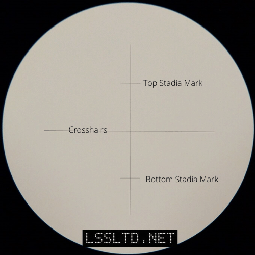 These are the reticle markings as seen through the telescope of a Topcon AT-B3 automatic level. Using the stadia lines you can use a dumpy level to measure distance.